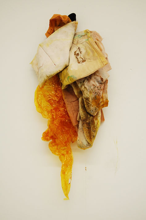 """de lujo"" there is so much luxury in being able to navigate nostalgia..., embroideries, recycled clothing, curry powder, adobo, rag, and plastic. 6.3' x 2'. 2017"