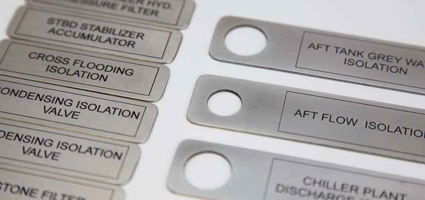 Stainless steel valve tags chemically etched