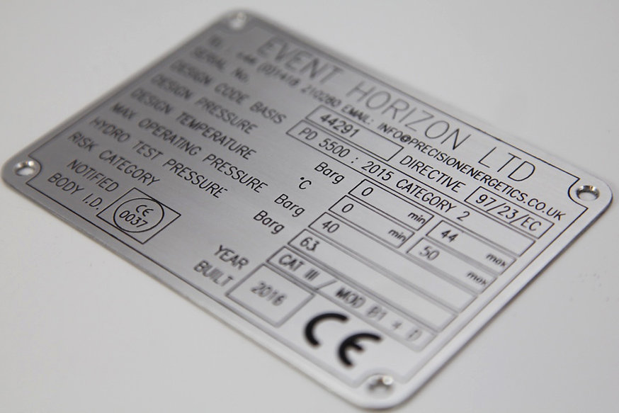 Aluminium nameplate etched engraved printed serial plate