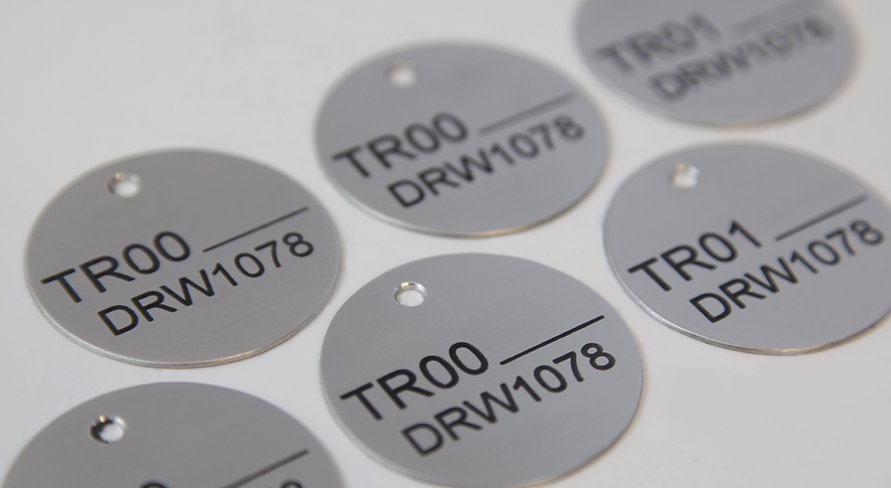 Aluminium valve tags serial plates, engraved chemically etched