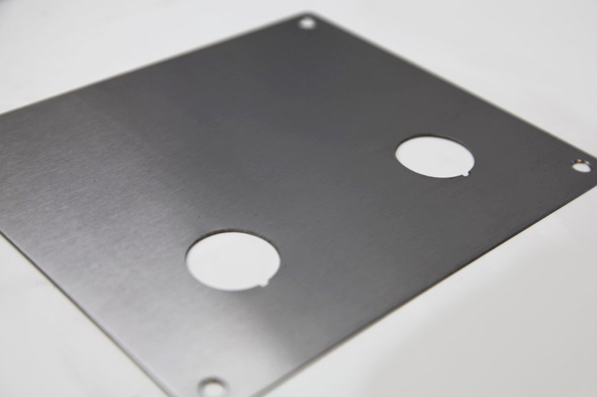 Brushed stainless steel control panel blank plate