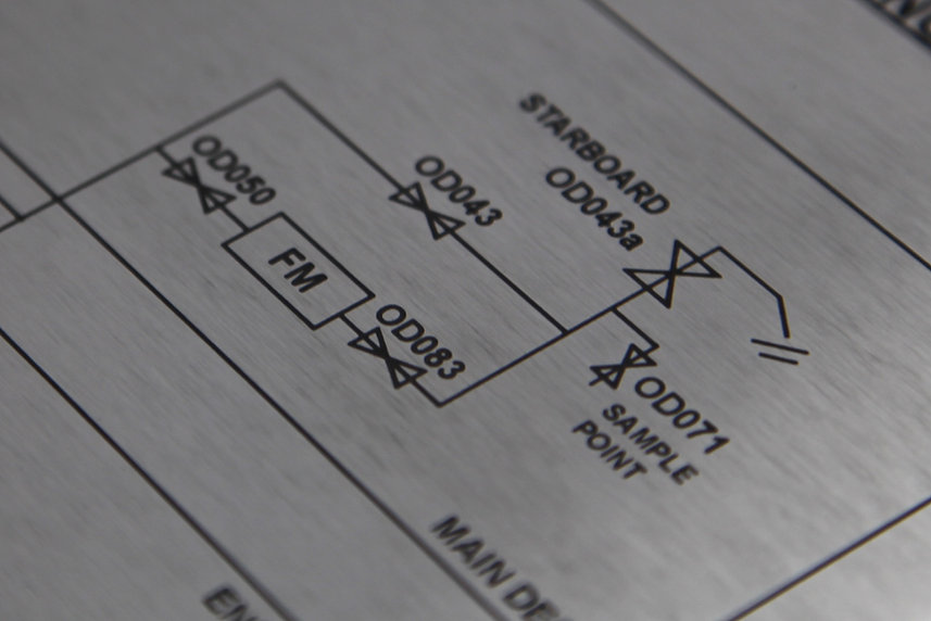 Engraved stainless steel schematics drawings control panel, etched