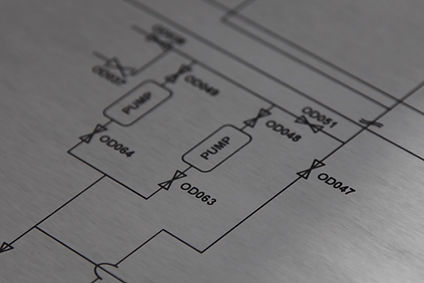 Chemically etched stainless steel schematic drawing