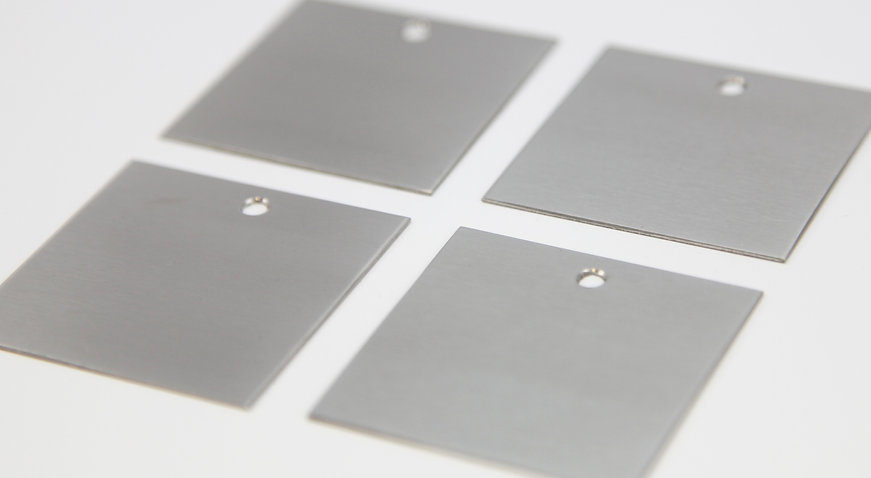 Brushed stainless steel blank plates