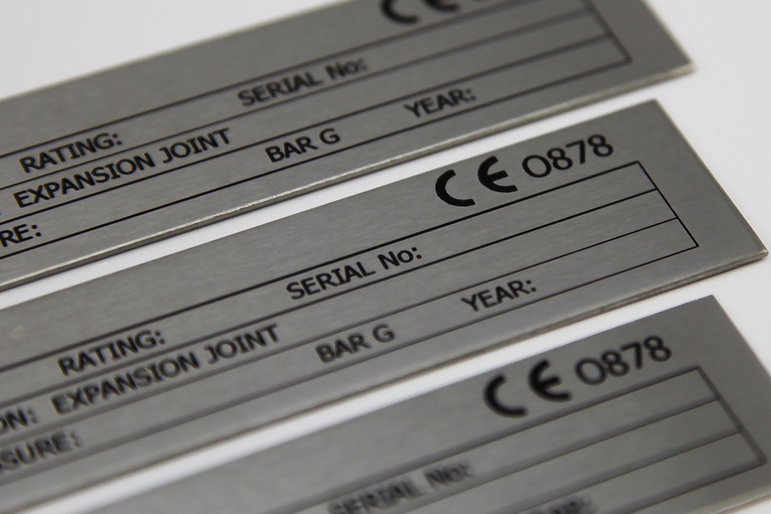 Stainless steel nameplate chemically etched