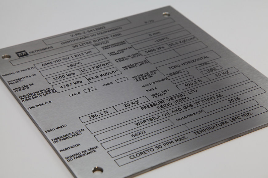 Stainless steel data plate nameplate rating plate chemically etched enrgaved