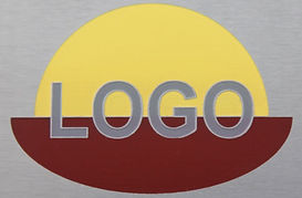 Chemically etched logo with multi colour paint infill
