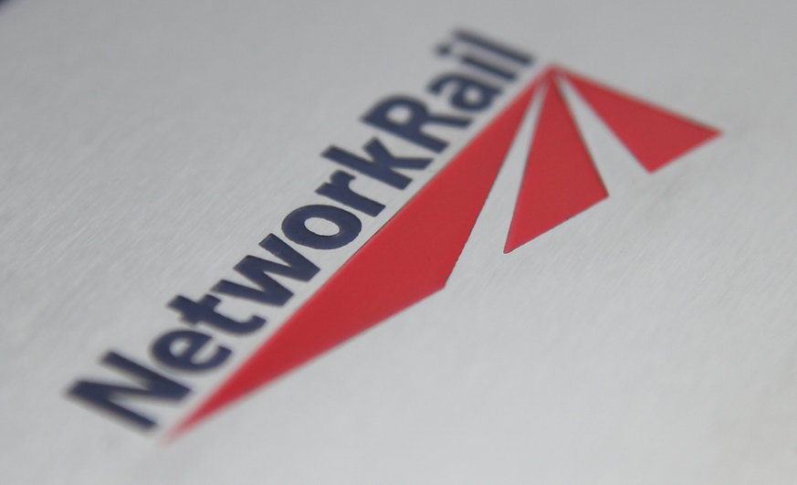Chemically etched logo stainless steel on sign, nameplate or logo. Network Rail colour infill.