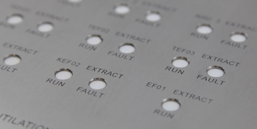 Stainless steel control panel, laser cut engraved