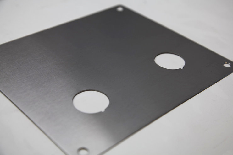 Water jet cut control panel stainless steel