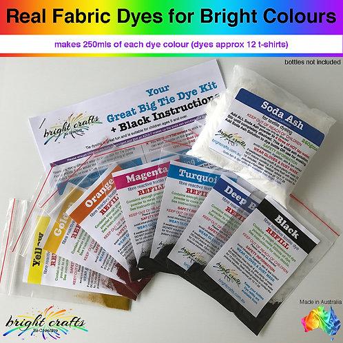 6 Big Bottle Tie Dye Kit + Black REFILL