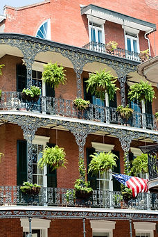 New Orleans architecture in bourbon stre