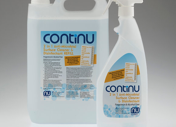 Continu 2 in 1 Anti-Microbial Surface Cleaner & Disinfectant (Spray + 5L Refill)