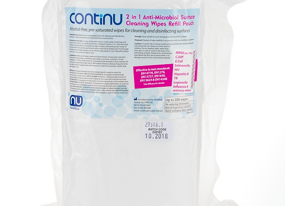 Continu 2 in 1 Wipes - Refill (200) - pack of 8