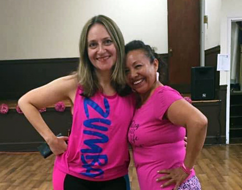 Mila and a Zumba Student
