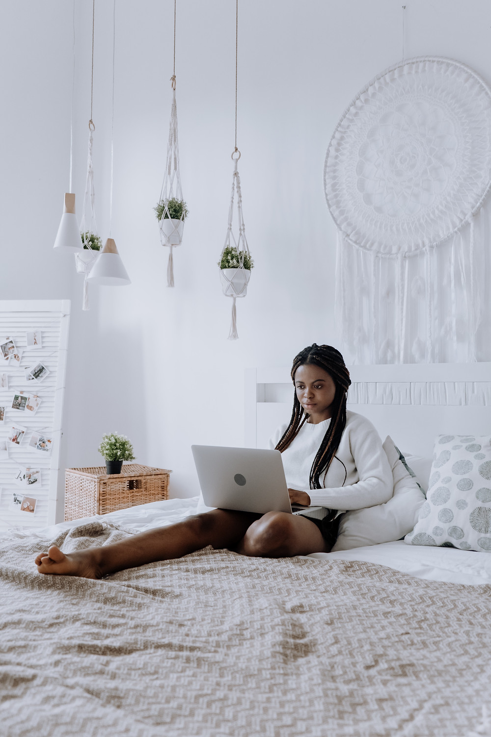 Child relaxing in decorated room