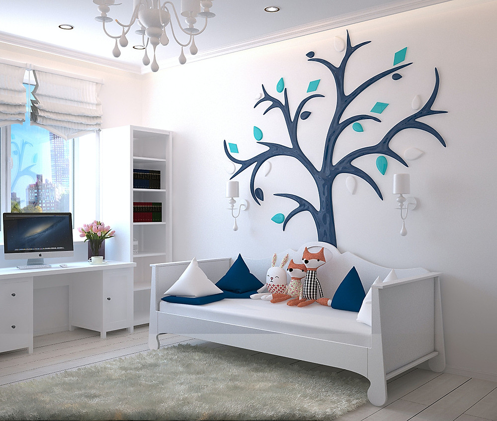 Childs decorated bedroom with desk