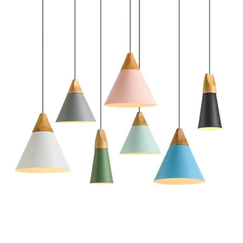 Colourful hanging pendant lights