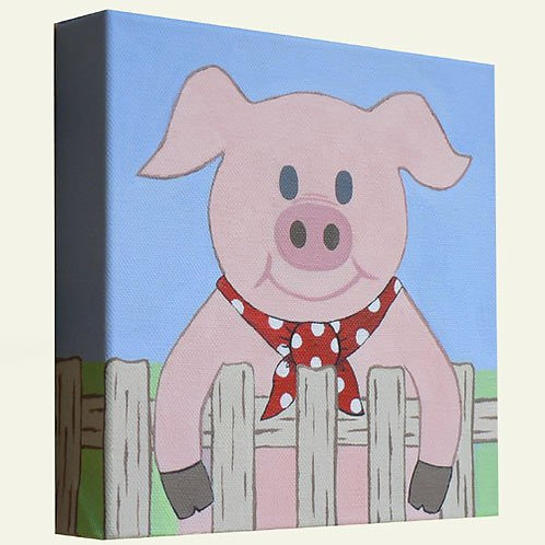 Multicoloured Pig Canvas Artwork