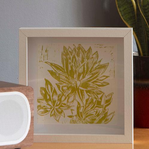 Hand Printed Succulent Lino Print Zingy Green 20cm x 20cm