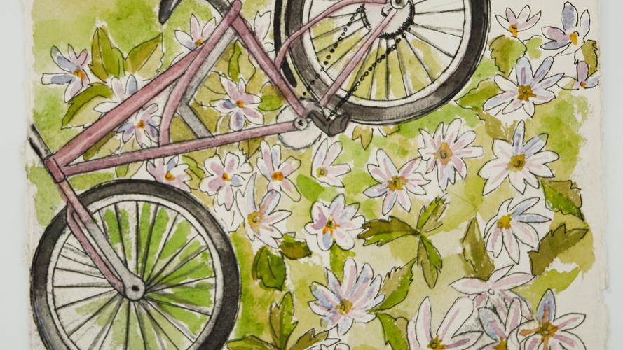 Bike with flowers artwork