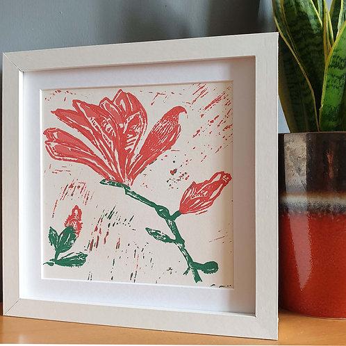 Hand Printed Magnolia Lino Print Green / Red 20cm x 20cm