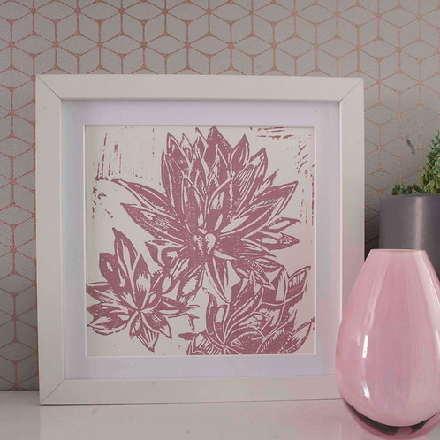 Hand Printed Succulent Lino Print Chalky Pink 20cm x 20cm