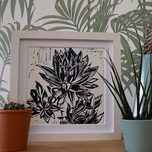 Hand Printed Succulent Lino Print Inky Blue 20cm x 20cm