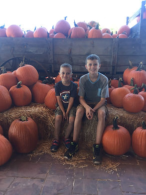 Gideon and Jackson at the pumpkin patch