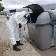 Desinfección de un contenedor