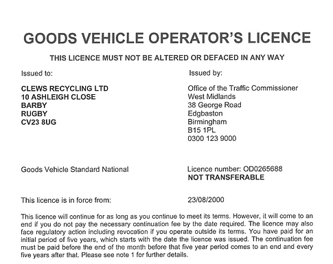 Goods Vehicle Operators Licence