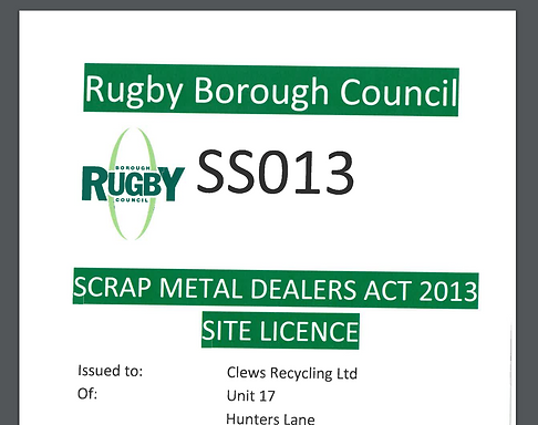 Scrap Metal Dealers Licence