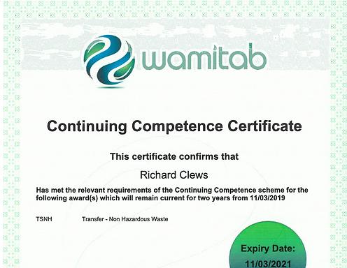 Wamitab Training Certificate
