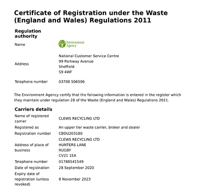 Waste Carriers Management Licence