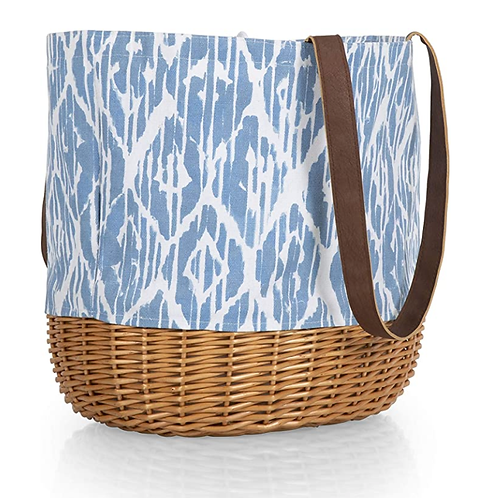 Picnic Time Blue Watercolor Coronado Willow Tote Picnic Basket