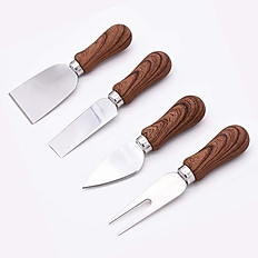 4 Piece Cheese Knives with Wood Handle