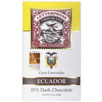 Letterpress Ecuador, Costa Esmeraldas 85 % - 2 oz