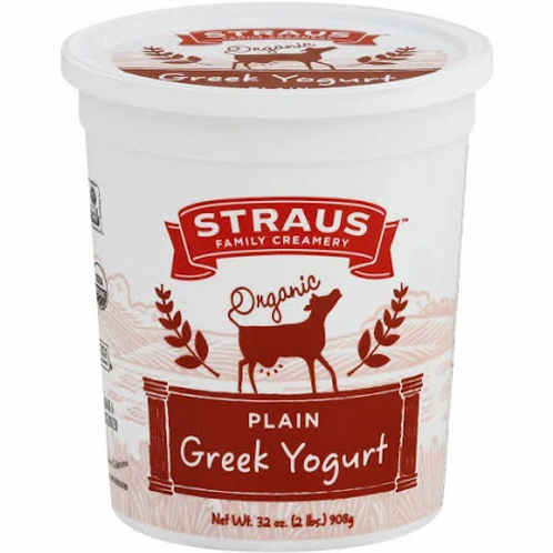 Straus Greek Yogurt, Whole Milk, Plain, Organic