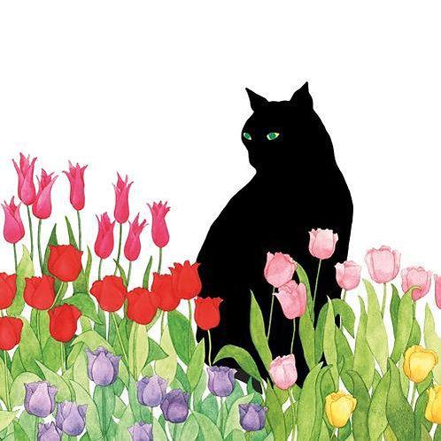 Black Cat Tulips Lunch Napkins