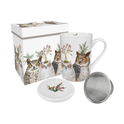 Holiday Hoot Gift-Boxed Tea Mug with Lid & Strainer
