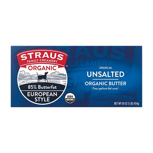 Straus Unsalted Butter, Organic - 16 oz
