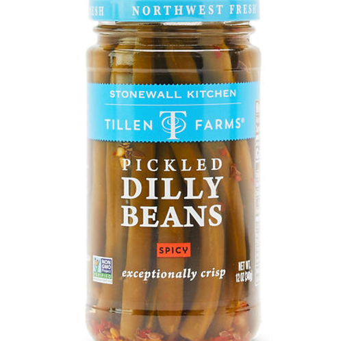 Tillen Farms Pickled Dilly Beans, Spicy - 12 oz