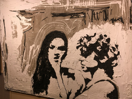 """Iffy Situation 70"""" x 56""""  Concrete, Tar,"""