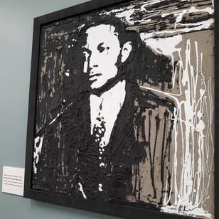 SOLD-Portrait of Atty Homer G. Phillips/Concrete, Tar, White Latex