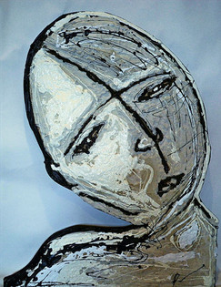 Portrait 1- Concrete, Tar, White Latex
