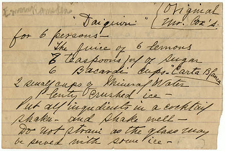 Jennings Cox' handschriftliches Rezept..