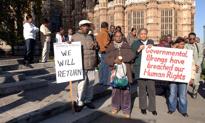 Chagossians protesting at Parliament in 2008