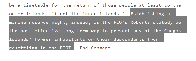 Quote from the Wikileaks cable about the establishment of the Chagos Marine Protected Area