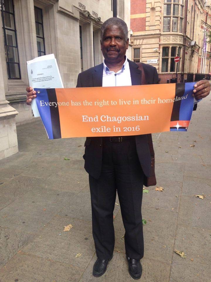 Chagossian Bernard Nourrice outside Supreme Court, on the day of one of many legal disputes between the UK government and the Chagossian community