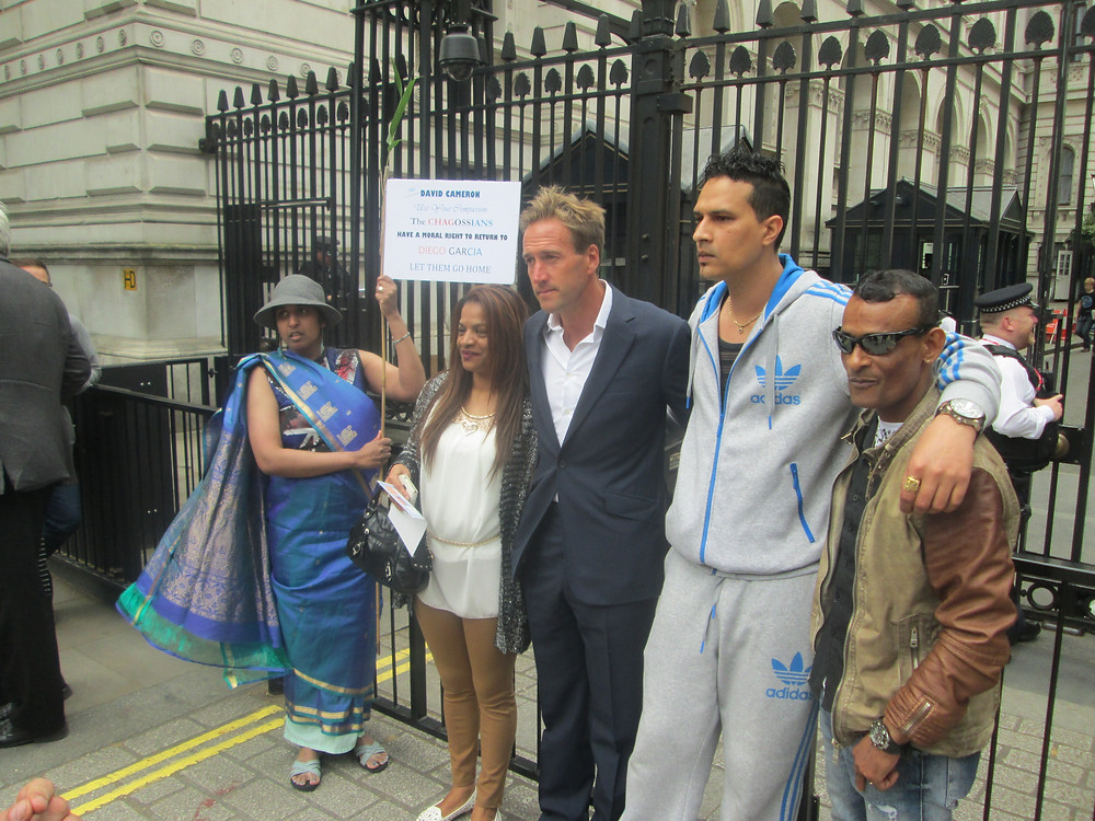 Ben Fogle with Chagossian activists outside Downing Street